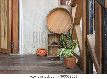 Basin And Plant On Terrace For Interior Design Room. Component Of Interior Design Room In Country Lo