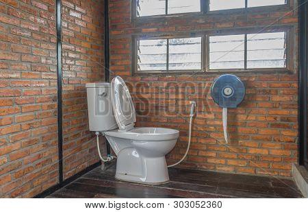 Flush Toilet In Country Loft Interior Design Room. Interior Design Toilet Room Include Flush Toilet