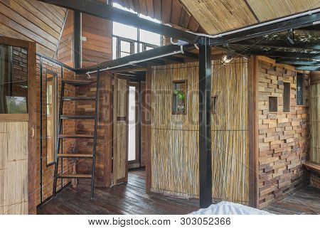 Interior Design Room In Country Style With Bamboo And Wood. Interior Design Room Include Stair And W