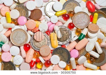 Lot Of Pills With Coins Among Them