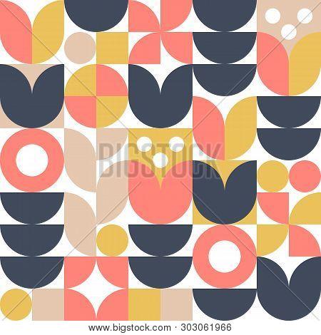 Abstract Scandinavian Flower Background. Vector Seamless Pattern. Modern Geometric Illustration In R
