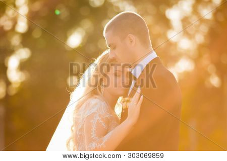 Wedding Couple Embracing In A Sun Light. Bride Wearing A Stunning Dress And Veil Keeping And Hugging