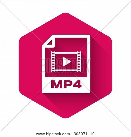 White Mp4 File Document Icon. Download Mp4 Button Icon Isolated With Long Shadow. Mp4 File Symbol. P