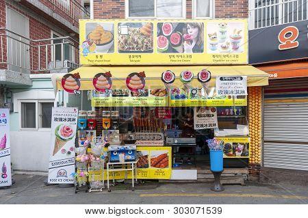 Busan, South Korea - April 2019: Local Food And Dessert Shop At Gamcheon Culture Village, Famous Tou