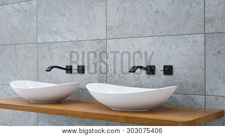 Close Up Of Bathroom Vanity Basin On A Wodden Oak Top Vanity With Black Water Faucet 3d-illustration