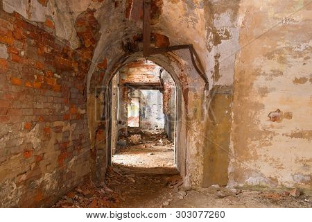 Interior Of Internal Rooms Of The Destroyed And Thrown Northern Fort Zverev. Kronstadt, Russia