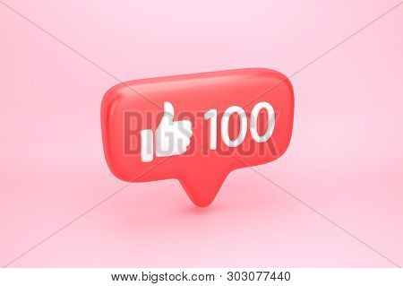 One Hundred Like Social Media Notification With Thumb Up Icon