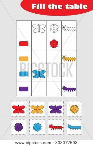 Fill The Table With Colorful Spring Pictures For Children, Fun Education Game For Kids, Preschool Wo