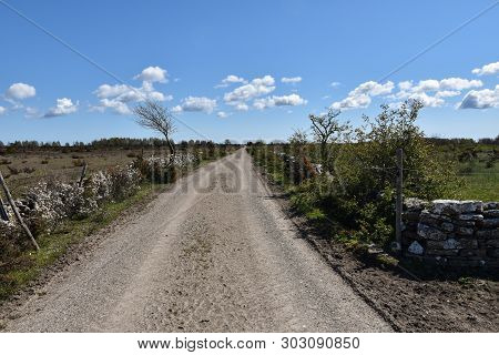 Country Road Into The World Heritage Site Southern Oland Agrarian Landscape In Sweden