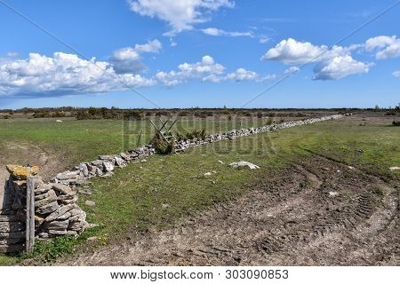 View At A Great Plain Landscape In A Nature Reserve At The Swedish Island Oland