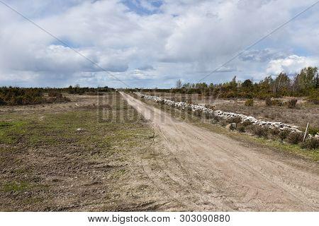 Dirt Road In The Great Plain Grassland Stora Alvaret On The Swedish Island Oland