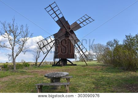 Old Wooden Windmill By Spring Season At The Swedish Island Oland