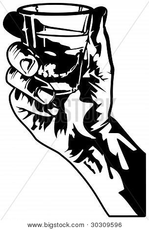 Hand Holding a Shot Glass
