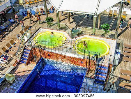 On The Baltic Sea  - June 1, 2009: Swimming Pool And Whirlpools On Board The Cruise Ship Costa Magic