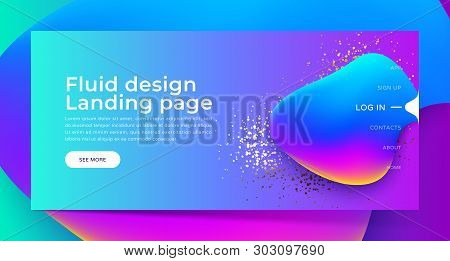 Landing Page With Trendy Colorful Liquid Gradients. Fluid Colorful Shapes, Gold Glitter. Modern Artw