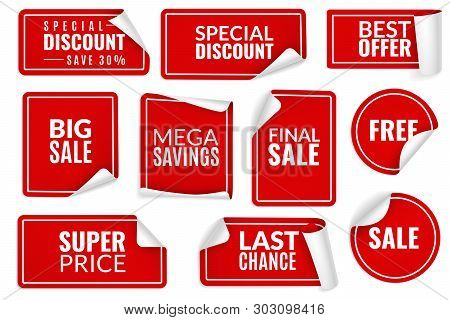 Red Stickers Curled. Wrapped Paper Sticker Set, Price Labels Sale Banners Bent Edge Corner Sheets. A