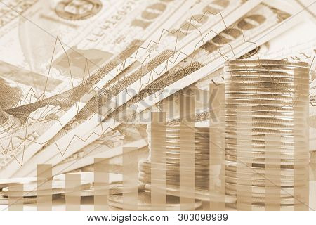 Double Exposure Banknotes, Stock Market And Graph On Rows Of Coins For Finance And Banking , Investm