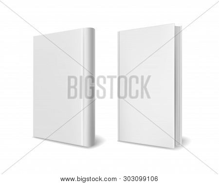 Realistic Book Cover Mockups. Empty White Closed Perspective Hardcover Books Brochure Magazine Or Ca