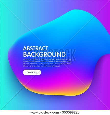 Banner With Trendy Colorful Liquid Gradients. Fluid Colorful Bubble. Modern Artwork Shapes From Acry