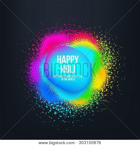 Abstract Happy Holi Banner With Colorful Spray Splash And Trendy Liquid Form. Indian Festivals Of Co