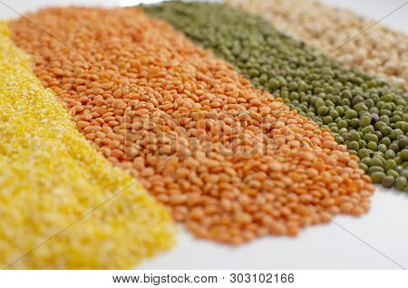 Lentils, Peas, Corn Grits. Bright Food  Background.