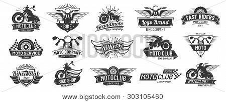 Motorcycle Badges. Bikers Club Emblems, Motorbike Custom Repair And Wheel Wings Badge. Retro Motorcy