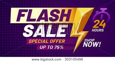 Flash Sale Poster. Lightning Offer Sales, Special Night Deal And Flashes Offers Discount Dark Billbo