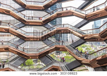 New York City, Ny, Usa - May 17, 2019: Interior Of The Vessel Public Structure And Landmark That Was