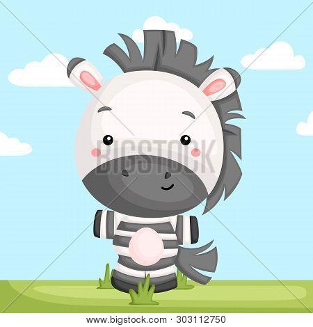 A Vector Of A Cute Zebra Standing In A Grass