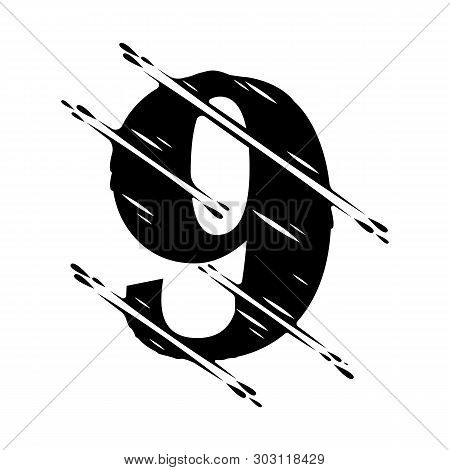 Modern Abstract Number. Dynamic Liquid Ink Splashes Number. Vector Design Element For Your Art. Numb