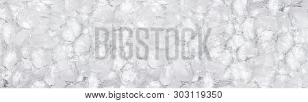 Crushed Ice Wide Texture. Rough Ice Cube Panoramic Background