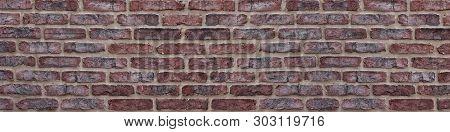 Wide Red Brick Wall Texture. Orange Brickwork Panoramic Vintage Background