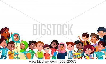 Group Of Mulicultural Smiling Children Vector. Laughing Happy International Boys And Girls Children