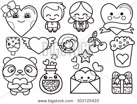 Valentine's Day Kawaii Icons Set,hand Drawn Colored Vector Set. All Elements Are Isolated
