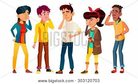 Ashamed Teenagers With Gesture Facepalm Set Vector. Collection Of Mulicultural Character Young Peopl