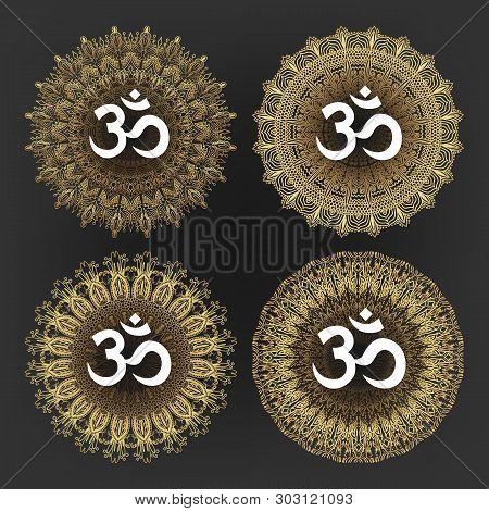Aum Symbol Of Hindu Deity God Shiva Set Vector. Collection Of Aum Ohm Emblem On Different Lace Ornat