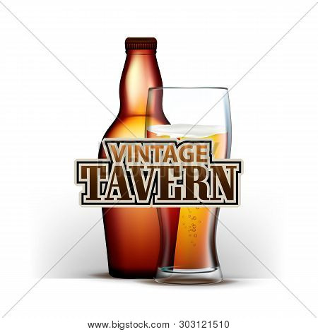 Bottle And Glass Of Beer Vintage Tavern Vector. Full Cup And Glassware Of Frothy Alcoholic Drink On