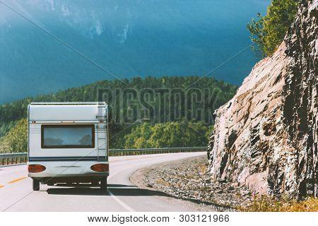 Camper Road Trip In Norway Rv Trailer Summer Vacations Traveling Family Journey Van Life Weekend Car