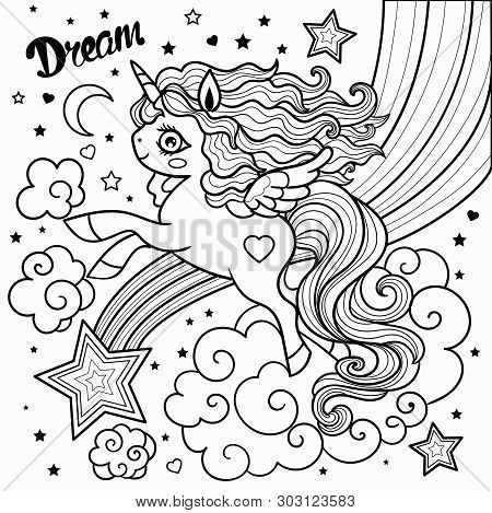 Unicorn And Star Drawn Vector Illustration For Coloring Book. Vector