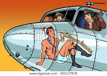 Women Pilots Girls. Pinup Man On The Fuselage Of A Retro Bomber. Pop Art Retro Vector Illustration V