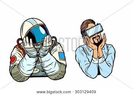 Set Thinker Dreamer Man, Astronaut And Man In Vr Glasses. Pop Art Retro Vector Illustration Vintage