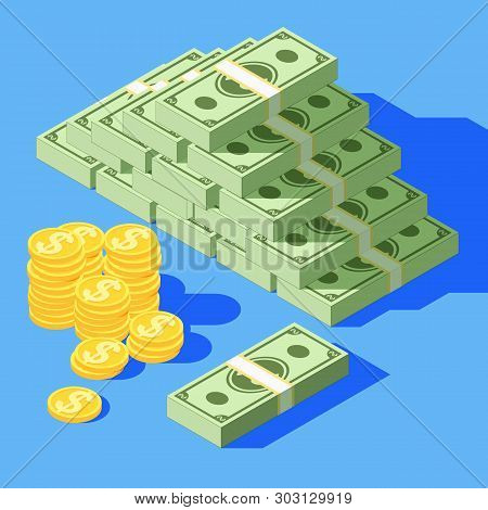 Big Stacked Pile Of Cash. Hundreds Of Dollars. Various Money Bills Dollar Cash Paper Bank Notes And
