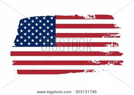 American Flag. Grunge Old Flag Usa Isolated White Background. Distressed Retro Texture. Vintage Grun