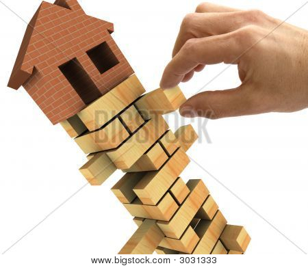 3d Illustration of the housing market recession poster