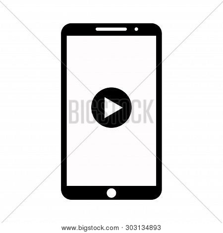 Vector Icon Phone Media Player. Media Application. Simple Player Icon. Flat Icon. Eps 10.