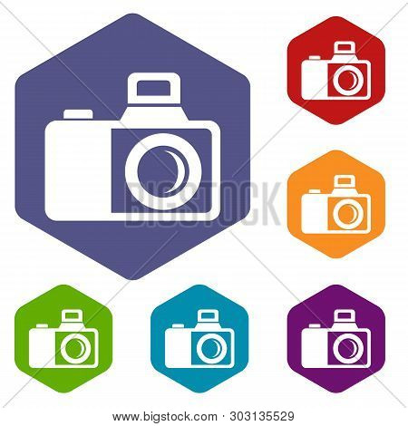 Photocamera Icons Vector Colorful Hexahedron Set Collection Isolated On White