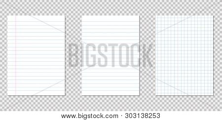 Set Empty Pieces Of Papers Realistic Style With Shadow And Lines Paper Pages White Paper. Eps 10