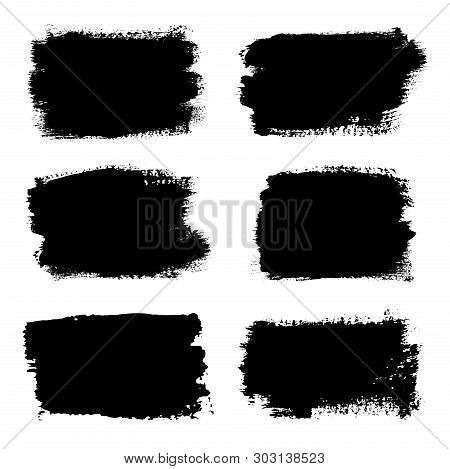 Brush Strokes Set, Isolated White Background. Black Paint Brush. Grunge Texture Stroke Line. Art Ink