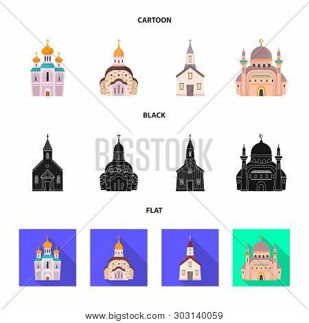Vector Illustration Of Cult And Temple Symbol. Set Of Cult And Parish Stock Vector Illustration.