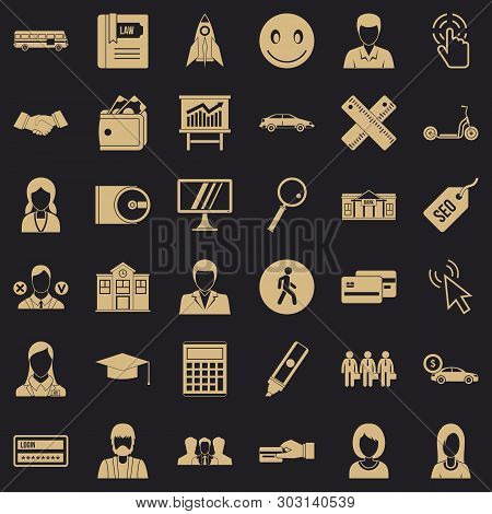 Seo For Site Icons Set. Simple Style Of 36 Seo For Site Vector Icons For Web For Any Design